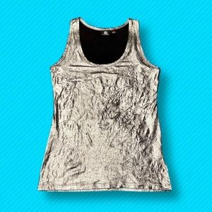 🌹Rock & Republic | Silver Crinkle Tank Top
